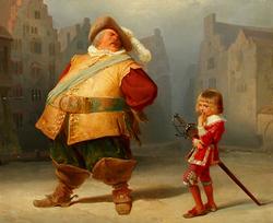 Gemälde von Adolf Schrödter: Falstaff und sein Page