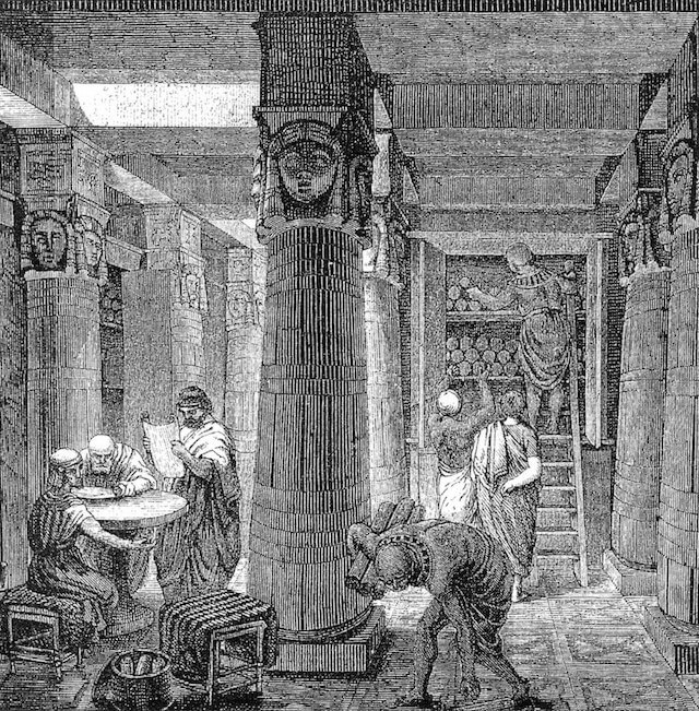 Bibliothek von Alexandria (Image by O. Von Corven, Public domain, via Wikimedia Commons)