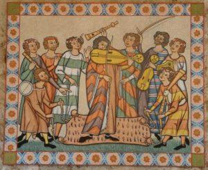 Unterhaltungskünstler des Mittelalters (Fresko; Image by Hans Braxmeier from Pixabay CC0)